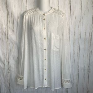 Free People Blouse Crochet Long Sleeve Button Down